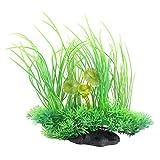 Planta de agua DealMux base de piedra artificial Inicio acuario hierba ornamental decoración verde
