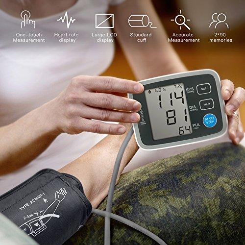 Digitale Blutdruckmessgerät, Hylogy Automatische Oberarm BP Monitor Manschette 8,7 bis 12,6 Zoll, Großbild-Display und 2 Benutzer-Modus 2 * 90 Speicher (schwarz) - 3