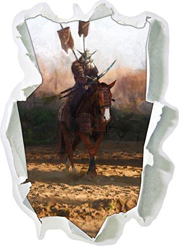 Samurai Krieger auf einem Pferd, Papier 3D-Wandsticker Format: 92x67 cm Wanddekoration 3D-Wandaufkleber Wandtattoo (Günstige Samurai Kostüme)
