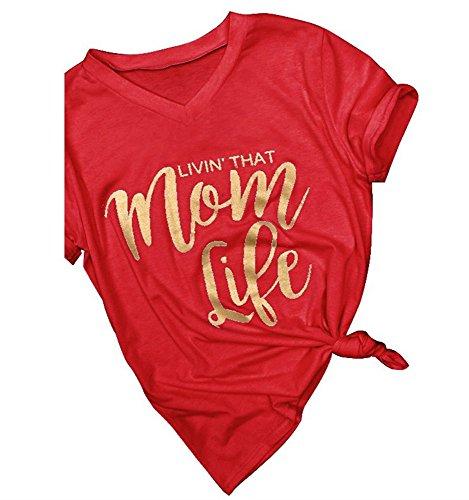 Outgobuy Womens Fashion Brief Print Mom Life Basic Sommer T-Shirt Mutter Geschenk Muttertag (M, Rot) (Lustig, Mom-t-shirts)