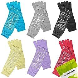 6 Bundle Monster pares de para mujer anti-slip Color con mango ergonómico para cabezales Feety Yoga ejercicios en calcetines para de mezcla