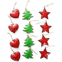 12 Stück hochwertige Weihnachtsanhänger Blech-Anhänger Christbaumschmuck HERZ BAUM STERN rot + grün (4,5 - 5,5 cm) Baumschmuck mit Schnur zum Aufhängen - Weihnachtsdekoration aus Metall
