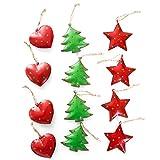 12 Stück Weihnachtsanhänger Blech-Anhänger Christbaumschmuck HERZ BAUM STERN rot + grün 4,5-5,5 cm Baumschmuck mit Schnur zum Aufhängen - Weihnachts-deko Metall Geschenk-Anhänger