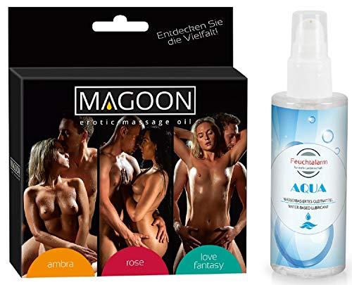 Massage 3 er Set Massageöl Sexöl Erotiköl Öl Körperöl (3x50ml) mit Duft und ein Gleitgel Gleitmittel (100 ml) von Feuchtalarm für Vorspiel Intim-Bereich Vagina Penis Body Sex Erotik Tantra Stimulation -