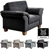 CAVADORE Sessel Byrum mit Federkern / Großer Sessel im Landhausstil / Holzfüße Buche natur / 101 x 87 x 88 / Grau