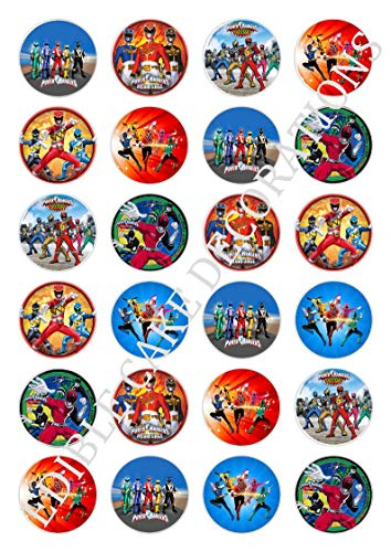 24 x Power Rangers Celebration Essbare Papier Cupcake Topper Kuchen Dekorationen