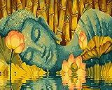 DAMENGXIANG DIY Hand Gemalt Digitale Ölbild Buddha Mit Lotus Moderne Abstrakte Kunst Bilder Für Wohnzimmer Home Decor 40 × 50 cm Mit Rahmen