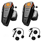 Veetop 2 x 800m Water Resistant Bluetooth Motorcycle Motorbike Helmet Intercom Interphone Headset