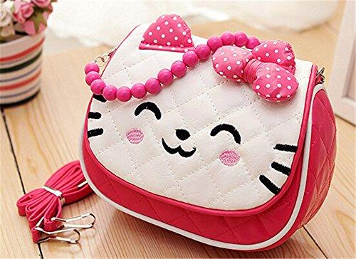 Scheppend Little Girls cute Princess Bow Strip Bead Tasche Handtasche Portemonnaie Rose rot
