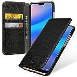 Keledes Ultra Slim case Schutz-Hülle für Huawei P20 Lite mit Kreditkarten-Fächern aus echtem Leder. Dünnes Echtleder hülle etui Flip Case Handyhülle Schutzhülle Leder in Handarbeit gefertigt für Huawei P20 Lite, Schwarz