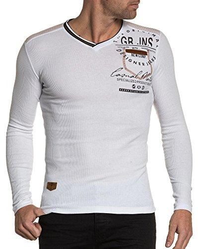 BLZ jeans - Shirt weiß Mann V-Ausschnitt Langarm Weiß