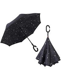 LiféUP Paraguas Doble invertido Paraguas Plegable invertido Paraguas a Prueba de Viento UV Paraguas para Coche