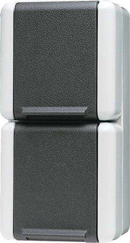 Jung 8220-1W Schuko-Steckdose 2-fach, Schwarz, Weiß
