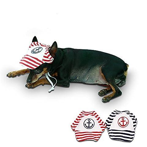 Entièrement 2x rayé Ancre Dog Baseball à visière Casquette Chapeau Cat Pet Summer Sport Core Bonnet Topee extérieur réglable