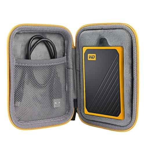 co2CREA Duro Viaggio Custodia Caso Copertina per WD My Passport Go SSD Portatile 500GB / 1TB(Travel Case) (Cerniera Gialla)