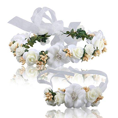 Amorar Handgemachte Braut Blume Garland Kopf Ornamente und Handgelenk Blume, Haar Kranz Halo Blumenkrone für Festival Hochzeit, Kopfbedeckung mit Band,EINWEG Verpackung -