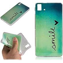 Beiuns Carcasa de TPU y silicona para BQ Aquaris E5 / E5 HD / E5 FHD (pantalla: 5,0 pulgadas) Funda - L161 sonrisa (mariposa) (no para BQ Aquaris 5.0)