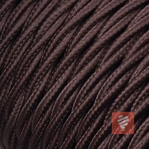 Textilkabel für Lampe, Stoffkabel, 3-adrig (3x0,75mm²) | Made in Europe | verseilt, geflochten, Braun (Dunkelbraun) - Meterware, Preis pro Meter -