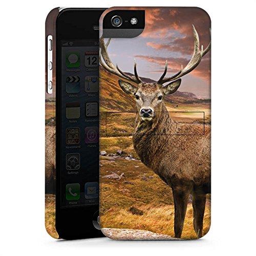 Apple iPhone 4 Housse Étui Silicone Coque Protection Cerf Paysage Prairie CasStandup blanc