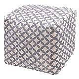 Izabela Peters Designer Luxe Velours Marocain Cube Pouf - Gris & Blanc Bahia, Marrakech - Collection Conçu ,Imprimé& Main IN The UK
