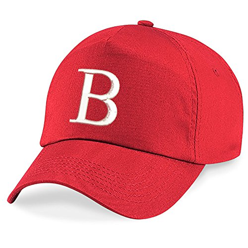 4sold Childrens Embroidery Cotton Summer Sun Hat Children School Kids Caps Hat Sport Alphabet A-Z Boy Girl Adjustable Baseball Bringt Red