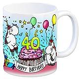 Honeycorns Tasse zum 40. Geburtstag mit Muffin und Einhorn Party - eine coole Tasse von trendaffe - passende weitere Begriffe dazu: Geburtstag 40. Geburtstag Glückwunsch Party Muffin Kerze Einhorn Einhörner Mädchen Frauen niedlich Kaffeebecher Kaffeetasse Becher Geburtstagsgeschenk Geschenk Geschenkidee oder Glückwunsch.