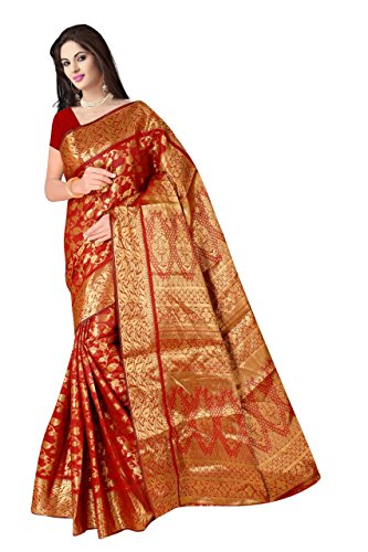 Boutique On Palm Bollywood Style New Generation Concept Party Wear Saree Banarasi Silk Sarees (Red Jacquard Vadi Velo)
