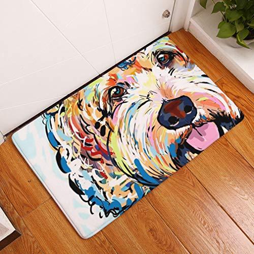 Nunbee Designer Fußmatte Anti Rutsch Unterlage Wasseraufnahme Teppich Praktische Schmutzfangmatte Haustür Flur Innenbereich Aussen Lustig Waschbar Weihnachten Katze, Hund 5 50 * 80cm -