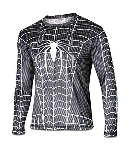 S - 16031 Maglia T-Shirt Sportiva Manica Lunga Con Stampa Spiderman Per Uomo Taglie A Scelta