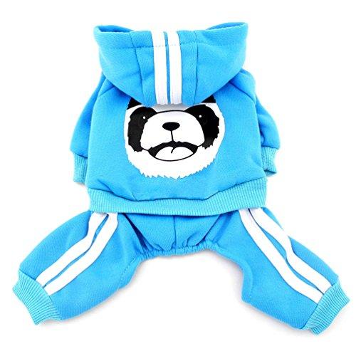 smalllee_lucky_store Dick Warm Panda Hoodies Sweatshirt Hund Jumpsuits Fleece, Blau, XS -
