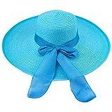YOPINDO Chapeau floppy été plage soleil chapeaux de paille anti-UV protection chapeau Voyage Packable UPF 50+ pliable large bord Chapeau Voyage Capable Cap pour les femmes (9210 Bleu)