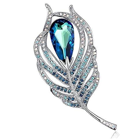 Merdia Brooch for Women Bridal Glittery Crystal Feather Brooch Pin Blue