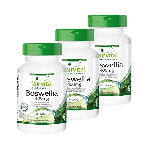 Boswellia Weihrauch 400mg - 2 plus 1 (3 x 120 Tabletten) - Boswellia Serrata, mind. 65% Boswelliasäuren, vegetarisch