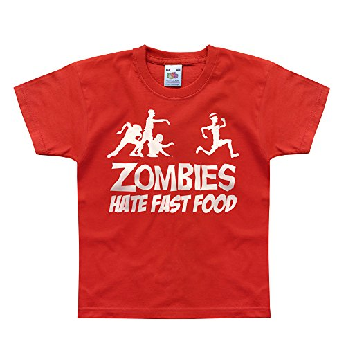Nutees Zombies Hate Fast Food Running Jogging Komisch Unisex Kinder T Shirts - Rot 2/3 Years