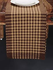 NEUDIS by Dhrohar Checkered Cotton Ribbed Table Runner for 6 Seater Table - Brown (33 X 182 cms)