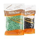 Cera dura Bonjanvye kit depilazione cera kit chicchi di cera dura kit prime 300g, Black and Green Tea, 14.5(L)*5(W)*23.5(H)cm