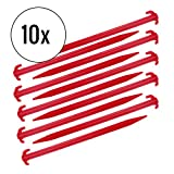 deiwo Zeltheringe Kunststoff 10er Set, rot, 30 cm, schlagfester Kunststoff, rot