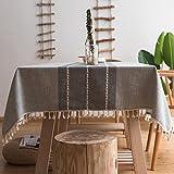 Tovaglie di Cotone in Stile Giapponese, Colore Rustico Antipolvere antivegetativa in Cotone Lino Decorazione Artistica Bar casa caffè tavolino (rettangolo/Quadrato / Circolare)