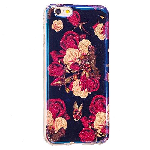 iPhone 6S Plus Hülle, iPhone 6 Plus Hülle, Gift_Source [ Rhododendron ] Ultra Dünn Weiche Silikon Schutzhülle TPU Bumper Case Schutz Handy Hülle Case Tasche Etui Backcover Slim case für iPhone 6S Plus E1-Begonie Blumen
