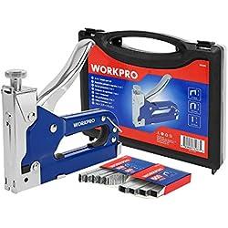 WORKPRO Grapadora y Clavadora Manual 3 en 1, Incluye 1500 grapas de Puerta- T- U, con Caja Plástica,Ideal para Carpintería, Aislamiento y Fijación de Cables