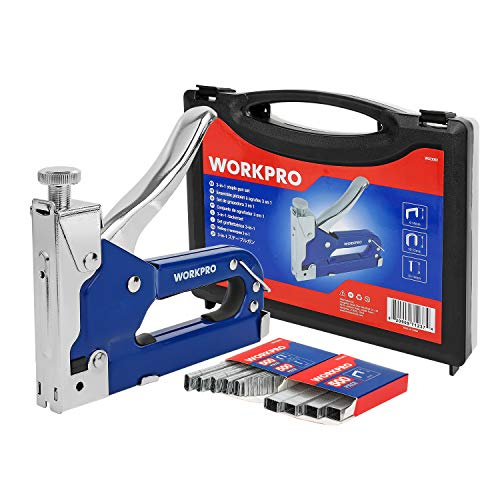 WORKPRO Handtacker handbetriebener Tacker 3 in 1 Tackerklammern Metall Hefter Hand Tacken Klammern Kombi-Tacker mit 1500 Heftklammern
