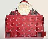SSITG Adventskalender zum Befüllen aus Holz im Weihnachtsmann Motiv mit 24 Türchen(Lieferzeit ist 3-7 Tagen)