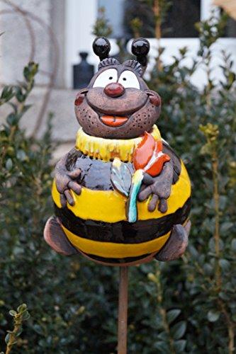 TB Keramik Gartenkugel Biene Maja 18 cm Gartenstecker Handarbeit