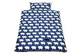 Pinolino 630522-1 - Bett- und Kopfkissenbezug für Kinderbetten, 'Happy Sheep' blau