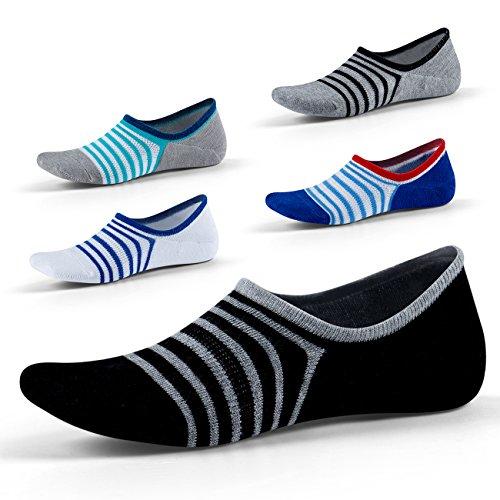 Herren Unsichtbare Socken - Tief geschnitten und rutschfest - Unsichtbar für Halbschuhe Oxfords Bootsschuhe EUR Größe 39-45, 5 Paar SEESILY (1)