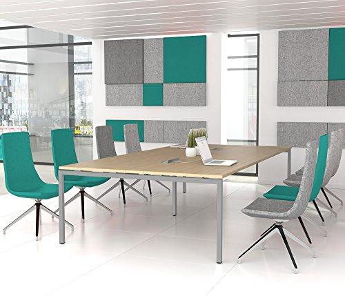 NOVA Konferenztisch 320x164cm Eiche mit ELEKTRIFIZIERUNG Besprechungstisch Tisch, Gestellfarbe:Silber