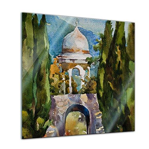 Bilderdepot24 Glasbild Aquarell - Türkisches Gartenhaus - 20 x 20 cm - Deko Glas - brilliante...