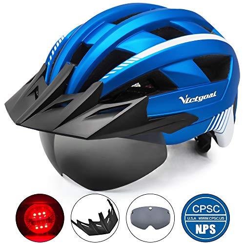 VICTGOAL Fahrradhelm MTB Mountainbike Helm mit abnehmbarem magnetischem Visier Abnehmbarer Sonnenschutzkappe und LED Rücklicht Radhelm Rennradhelm für Erwachsenen Herren Damen (Metal Blue)