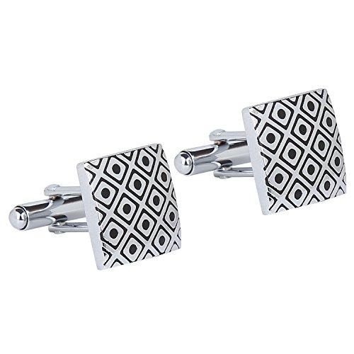Tripin Rectangular Silver and Black Brass Cufflinks for Menfor Men in A...