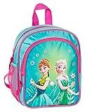 Disney Frozen - Die Eiskönigin Elsa Anna Olaf Rucksack Kinderrucksack (DFL) mit Hauptfach und Nebenfach Getränkenetz, 25x22x13 cm, türkis/pink